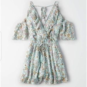 American Eagle Floral Cold Shoulder Romper